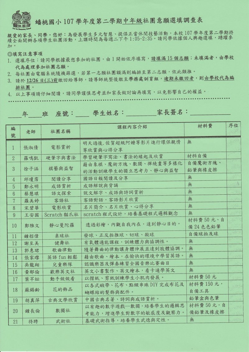107學年度第2學期社團意願選填調查表